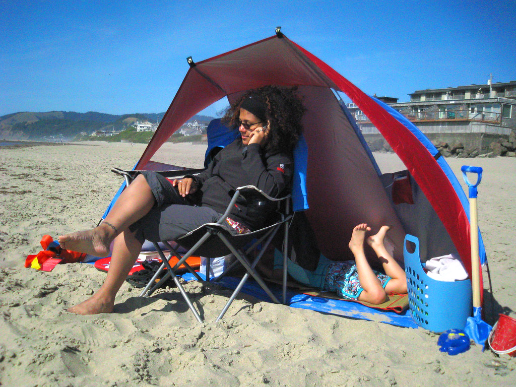 ... Missy and Celia in a half tent on the beach in Lincoln City OR | & Missy and Celia in a half tent on the beach in Lincoln Citu2026 | Flickr