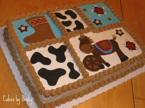 Little Cowboy Baby Shower Cake This Sheet Cake Was