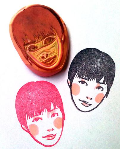 Hand carved girl stamp kozue flickr