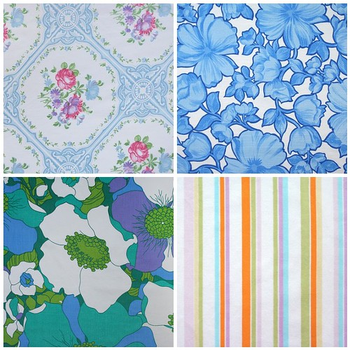 retro floral & stripes: blues, purples, greens, pinks, pastels | by duckyhouse