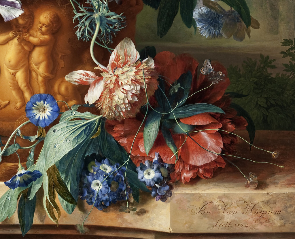 Jan Van Huysum 1724 Bouquet Of Flowers In An Urn Detail