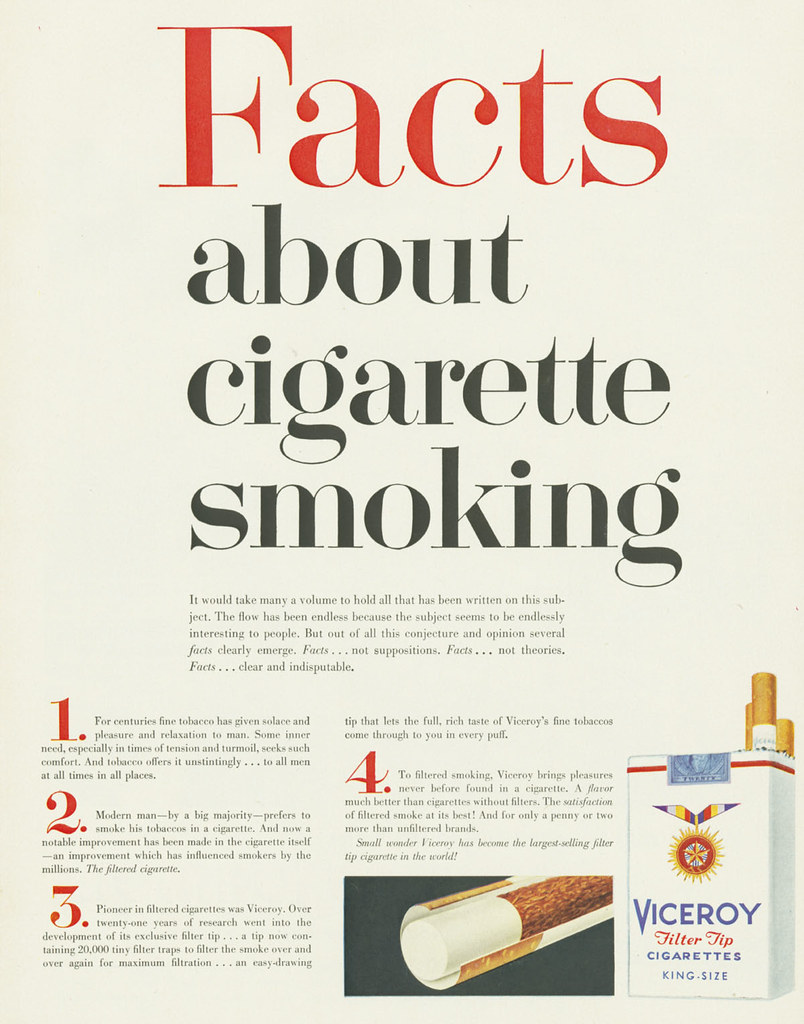 Viceroy, Facts about cigarette smoking | Date: 1957 Brand: V… | Flickr