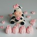 Friesian cow cake topper set birthday christening