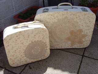 vintage recycled suitcases | by Bee and Buzz