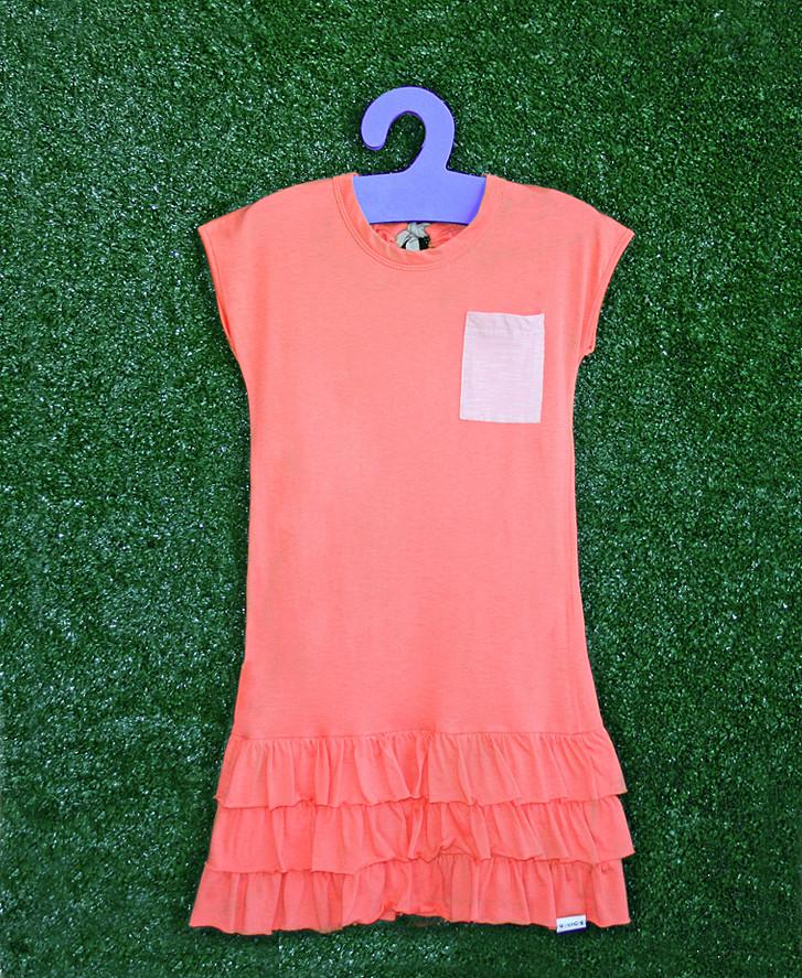 744b0a9fb3b ... Vestido babadinhos e bolso coral