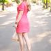 vintage coral dress with  neutral accessories+ hair+blonde hair+long hair