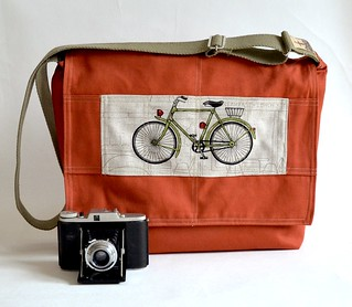 "17 "" Laptop bag Unisex Messenger Brick with bike flap - khaki heavy duty webbing strap 