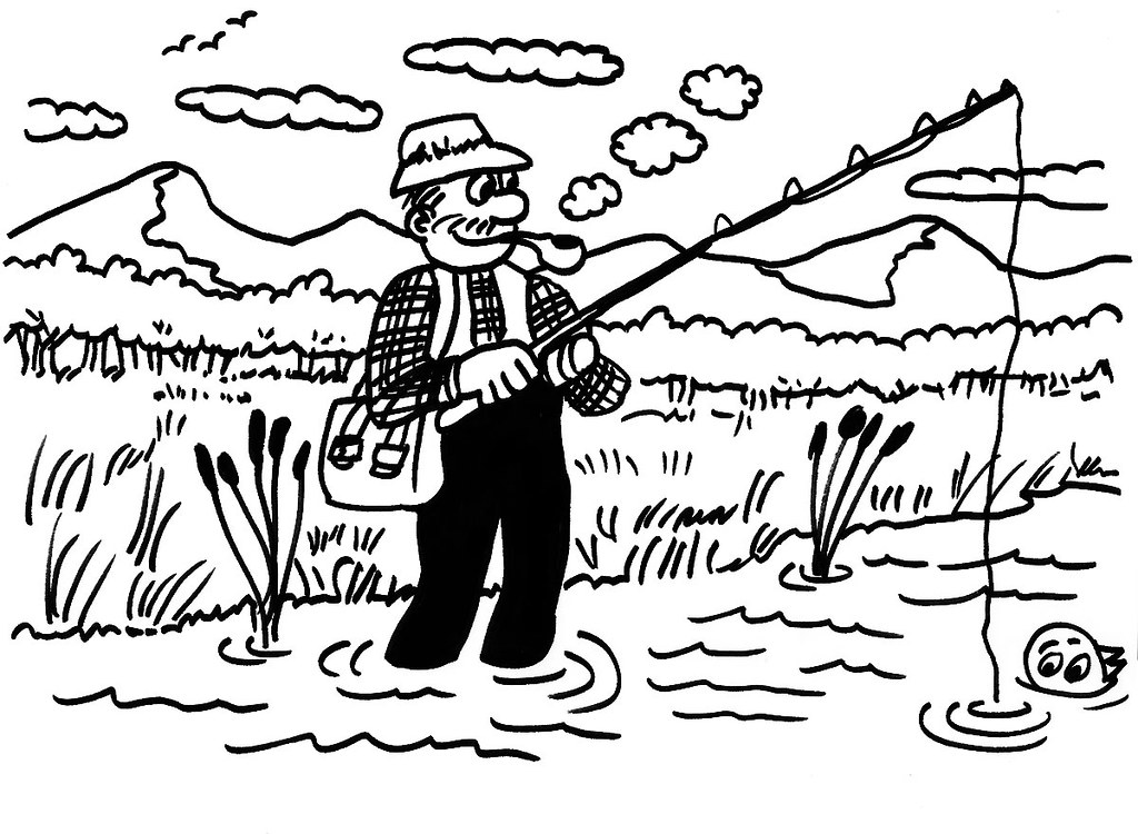 Cartoon Fisherman Cartoon Man Fishing In A Mountain