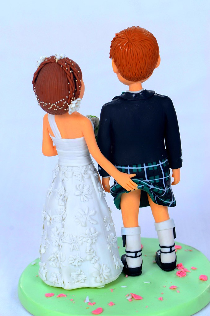 wedding cake toppers kilt scottish wedding cake topper by topperland back view 8831