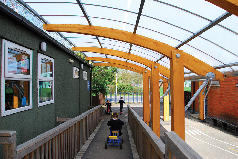 Structural Timber Cantilever Canopy For Infants School