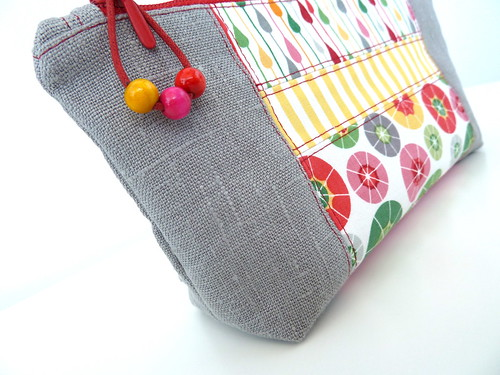 Grey Linen Pouch Rainy days | by marabara-design
