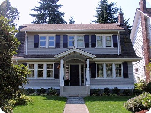Gray dutch colonial revival house north historic for Dutch revival house plans