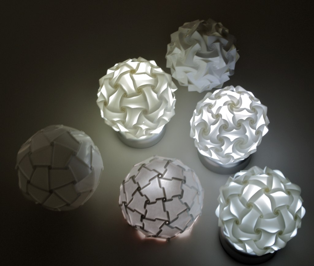 table lamp variations based on 60 face polyhedron
