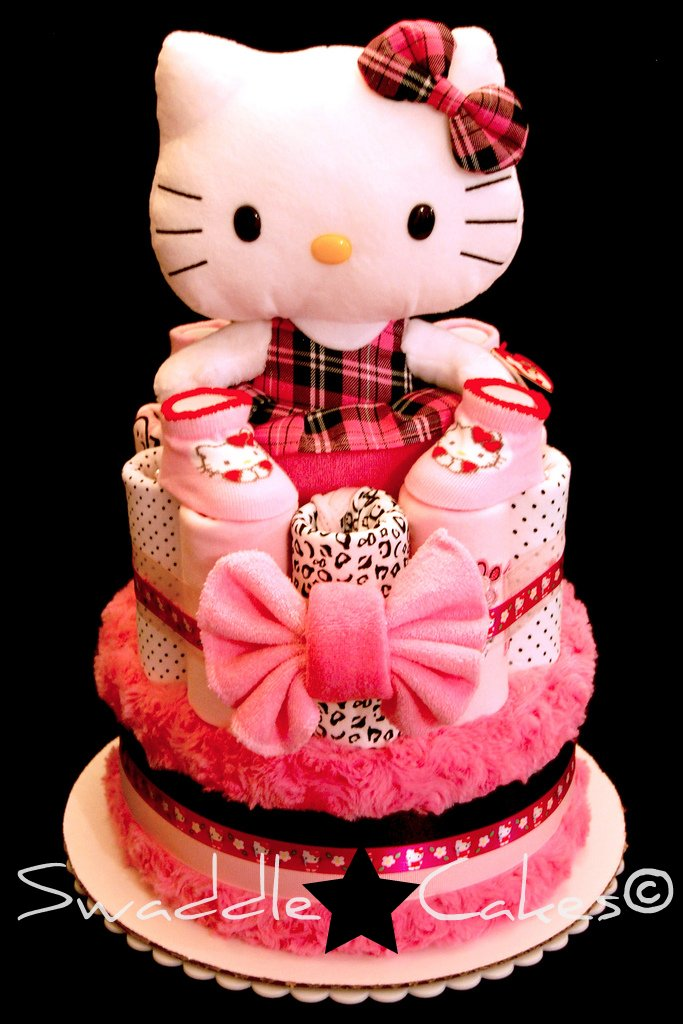 Wild Pink Hello Kitty Diaper Cake 20 Pampers Swaddlers