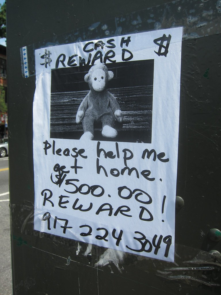 lost monkey toy reward poster this was real and one of th flickr