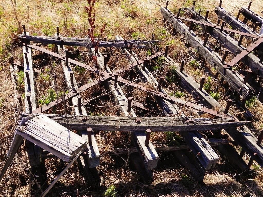 Antique Spike Harrows : Wood frame steel spike drag harrow abandoned farm