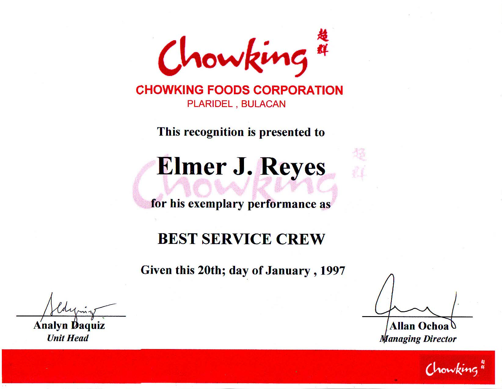 Certificate of employment sample for service crew images certificate of employment sample of chowking image collections certificate of employment sample of chowking choice image yadclub Image collections