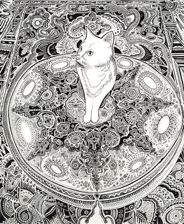 white cat drawing | by my name is O.