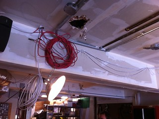 Stereo and CAT6 cable run underneath library | by johnclarkemills