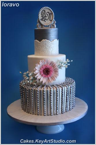 Wedding Silver Pink Gerber 01 Cakes Keyartstudio Com Cake Flickr