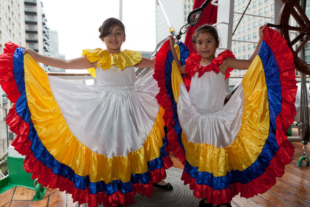 Two Young Girl Dancers Display Their Traditional Colombian