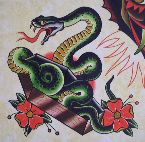 Guinness Toucan Mascot Tattoo: Coffin Snake Watercolor