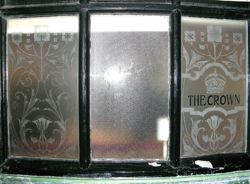 Etched Glass Pub Window The Crown Seaford East Sussex
