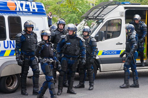 Riot Police in Piccadilly Gardens, Manchester - August 9th, 2011(221/365) | by SkyFireXII