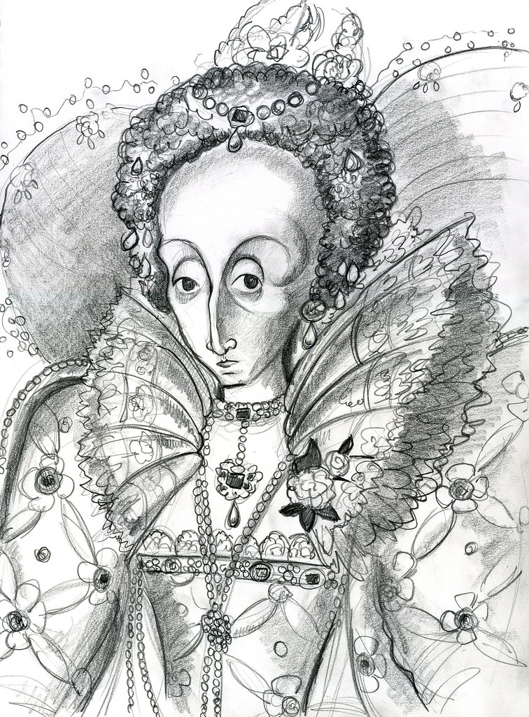 Queen Elizabeth I Graphite Sketch 11x14 Inches Jason