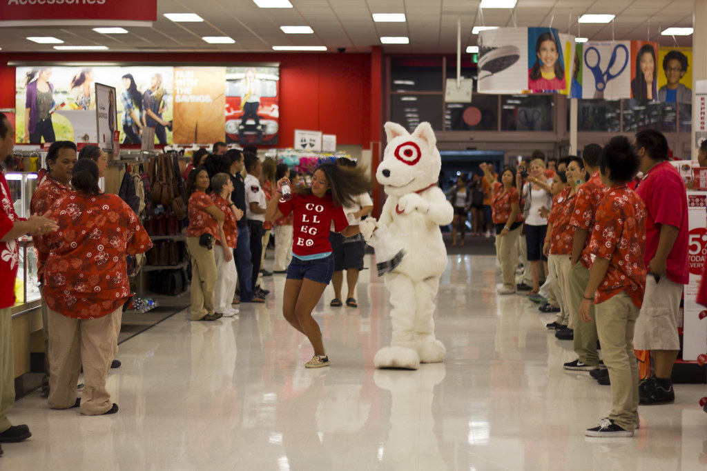 Target volunteer mascot dog dance in aisle the target What kind of dog is the target mascot