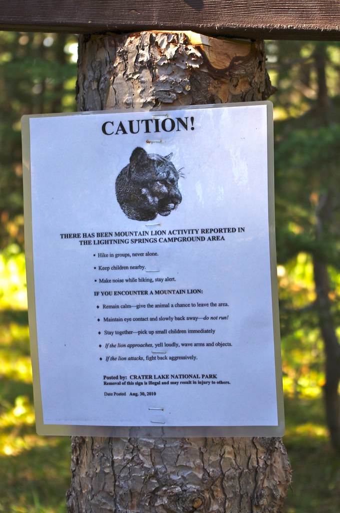 ... Mountain lion warning sign   by Grant Eaton