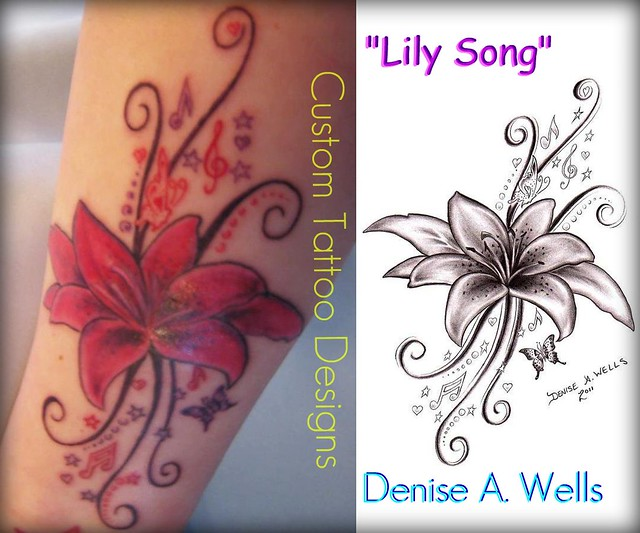 lily song tattoo design by denise a wells flickr photo sharing. Black Bedroom Furniture Sets. Home Design Ideas