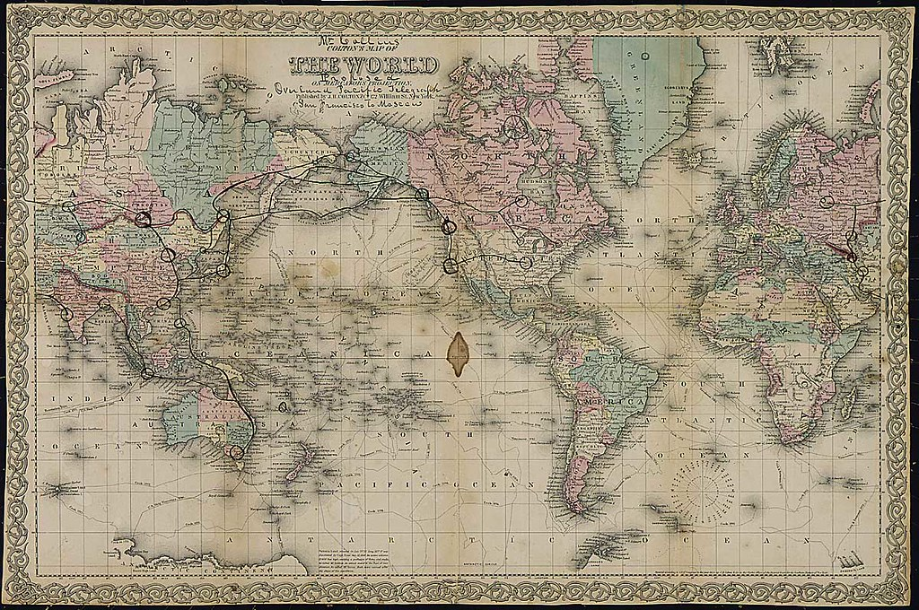 1862 by map showing overland pacific telegraph from san francisco to moscow ca 1862 by