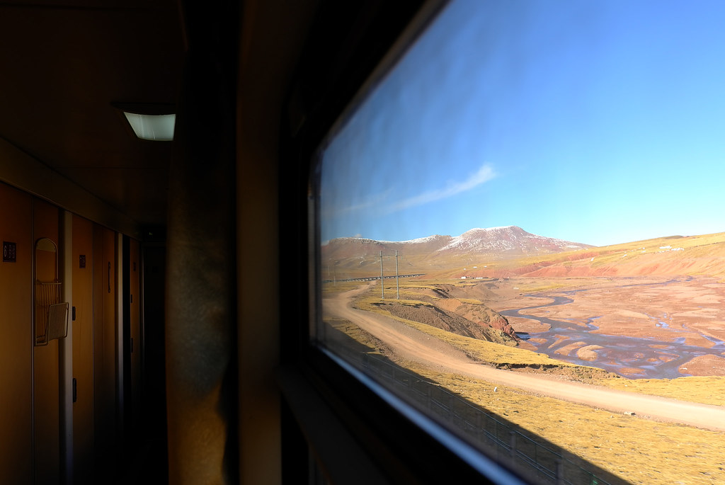 Train on Qinghai-Tibet Plateau