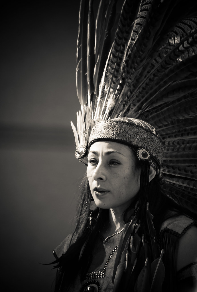 Aztec Woman In Head Dress Dia De Los Muertos San Jose