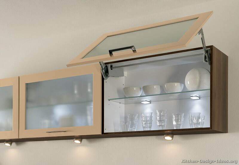 Kitchen cabinets modern two tone 186 a084c beige dark wood for Kitchen wall units with glass doors