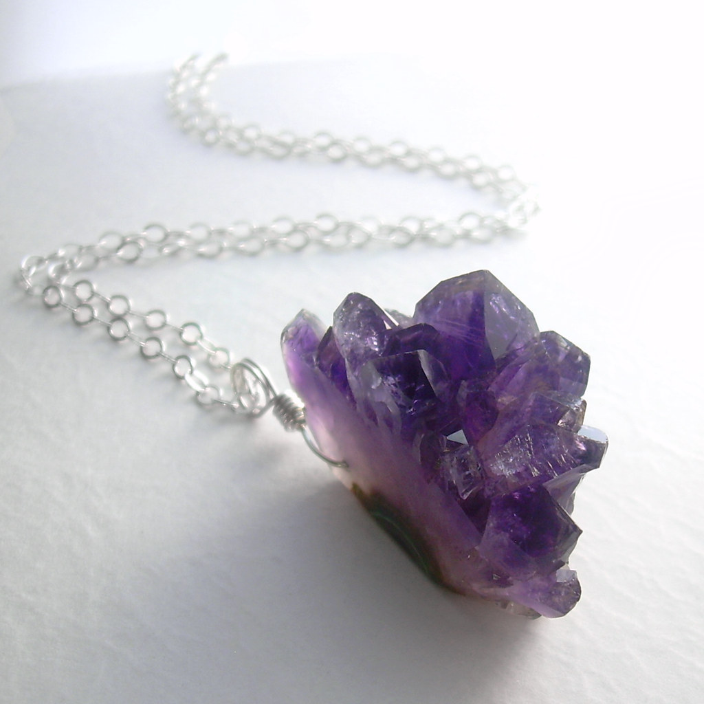 Rough Amethyst Necklace Genuine Natural Purple Crystals