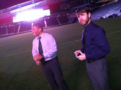 Tim and John on the Livestrong field | by Brockton Creative Group