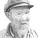 4004 A Mongolian farmer ( photo to sketch )--Inner Mongolia , China