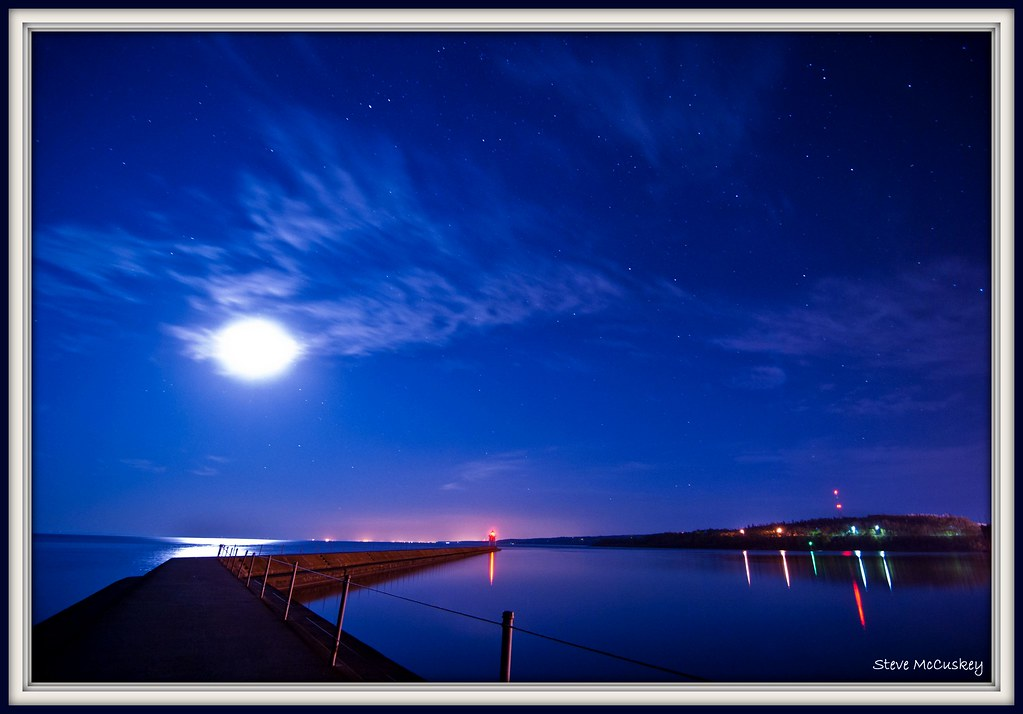 two harbors mn usa shipping entry at night bright moon a flickr