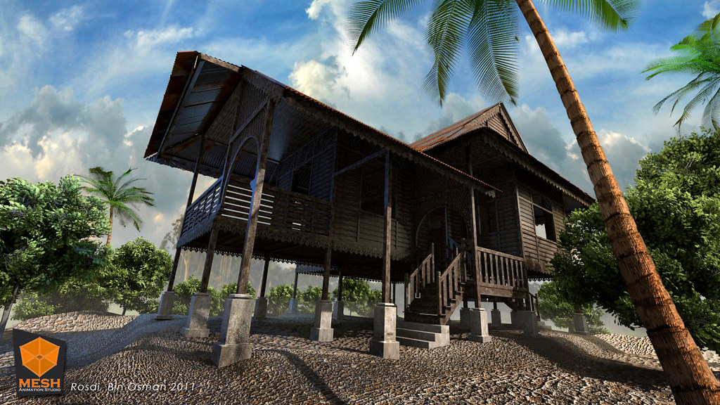Malaysian home village rumah kampung 3d image rosdi for 3d wallpaper for home in malaysia