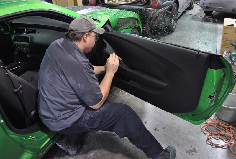 2011 Synergy Green Camaro 5th Gen Custom Door Panel Instal