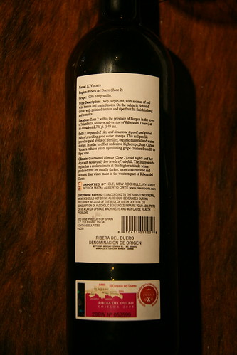Back Label (100% Tinto Fino) | by winesoiree