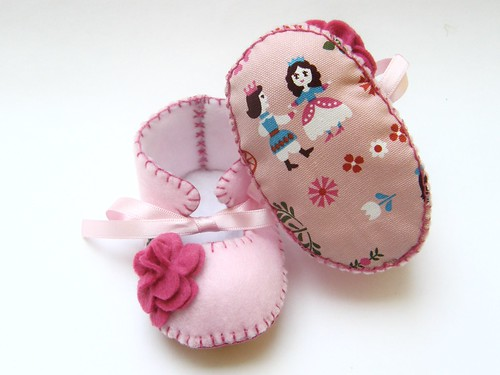 Cindirella Pink Baby Girl Booties Baby Slippers First Baby Shoes | by Funky Shapes