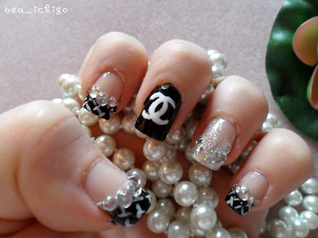 Chanel nail designs pictures nail designs glitzy fingers view images chanel nail design prinsesfo Image collections