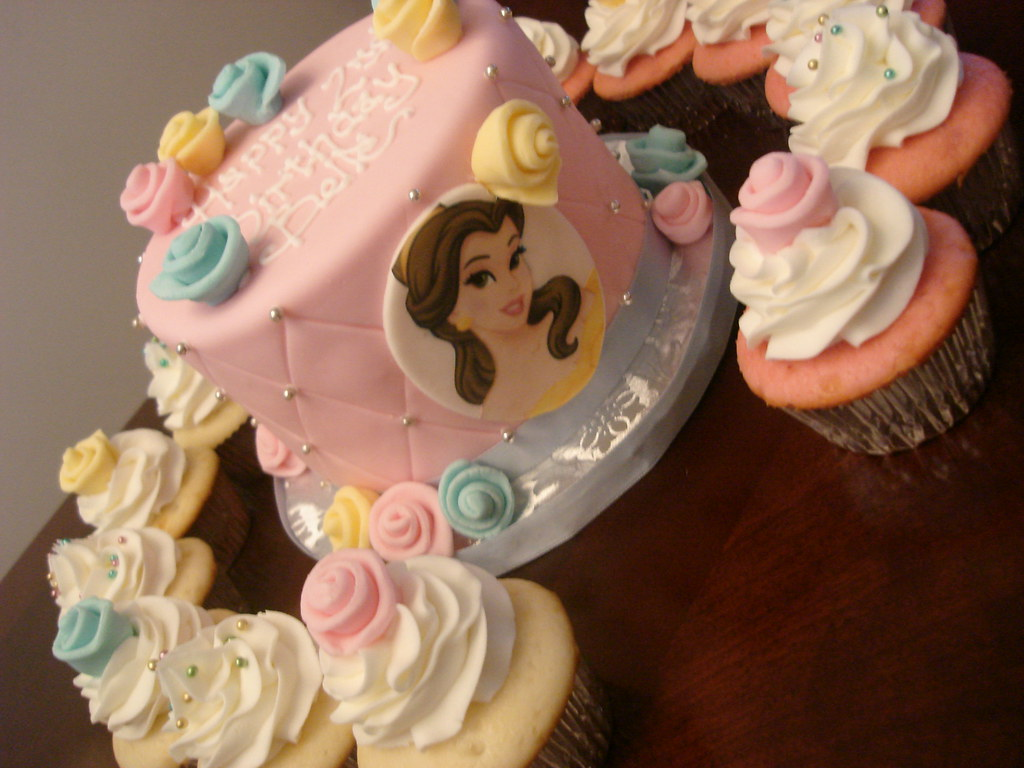 Disney Princess Belle Birthday Cake And Cupcakes See More Flickr