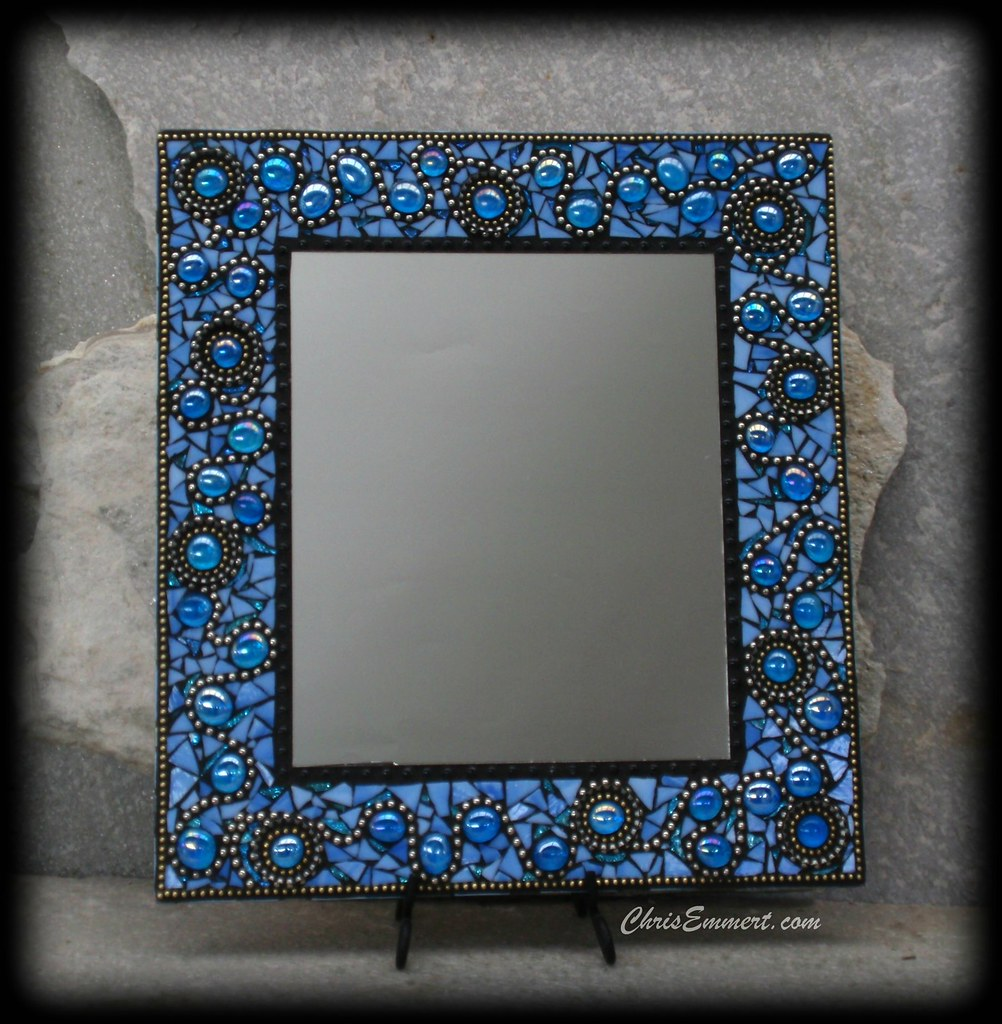 Ooh la la mosaic mirror in blue stained glass for Mosaic mirror