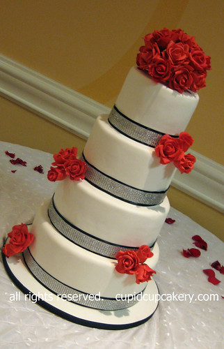 4 tier wedding cake with red roses wedding cake by cupid cupcakery 4 tier wedding 10424