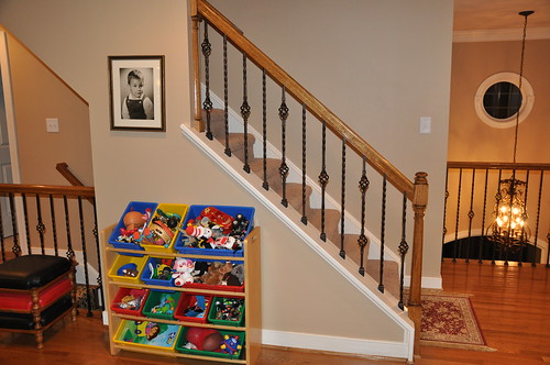 Basement Stair Trim: Iron Balusters On Knee Wall