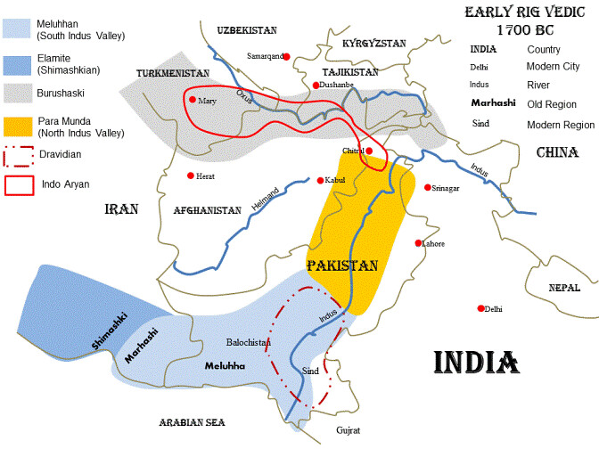 Indo aryan trail c 1700 bc early vedic period a map of flickr 1700 bc early vedic period by sacredvoices gumiabroncs Gallery